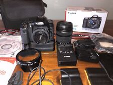 Canon EOS 70D 20.2MP Digital SLR Camera  w/ 2 lenses 40mm & 18-135mm 7 Batt +++