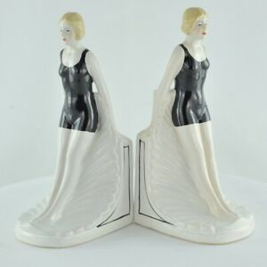 Serre-Livres Figurine Baigneuse Pin-up Sexy Plongeuse Style Art Deco Porcelaine