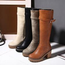 Womens Chunky Round Toe Buckle High Heel Zip Platform Knee Knight Boots Shoes