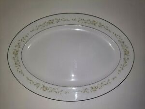 Sango Debutante Oval Platter Plate Serving Dish China Japan Green Leaves Roses