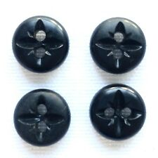 "x4 Vintage 3/8"" Black Buttons - Star Pattern Relief"