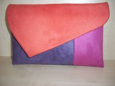 OVER SIZED BURNT ORANGE, PINK & PURPLE  faux Suede clutch bag,  UK made