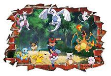 Pokemon Go Classic Charizard Pikachu 3D Smashed Wall BreakOut Sticker Wall Decal