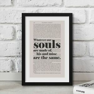 Wuthering Heights Anniversary Gift Quote Printed Book Page Wall Artwork Framed