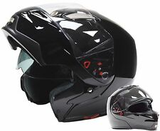 Adult Modular Helmet Dual Visor Motorcycle Gloss Black Large