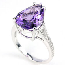 Sterling Silver 925 Deep Purple Amethyst & White Sapphire Ring Size O (US 7.25)