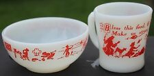 Fire King RED 1 Child's Prayer Cup & 1 Bowl  Anchor Hocking