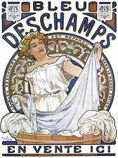 Publicité Art Nouveau MUCHA BLEU DESCHAMPS Art Poster Print lv339