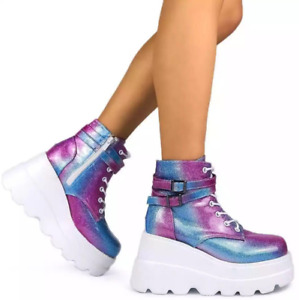 Women Cleated Sole Creeper Round Toe Punk British Casual Lace Ups Buckle Boots D