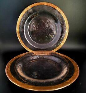 Metallic Gold Rim Glass Clear Salad Plate (Set of 2)