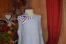 robe tartine et chocolat 4 ans doublee bleu pale fleur brodee en bas 52% de lin