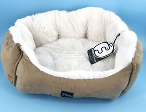Friendly Monsters Round Pet Bed, Premium Micro Suede Design - Small (Tan) #0497