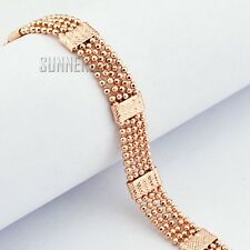 Fashion Jewelry 8mm Mens Womens Beads Link Chain 18K Rose Gold Filled Bracelet