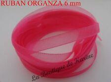 10 Mètres DE RUBAN ORGANZA ROSE 6 mm très belle couleur - CREATION BIJOUX PERLES