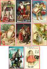 Christmas vintage Santa child pictures on cards scrapbooking crafts set  8