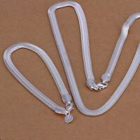 Silver jewelry Bracelet Necklace set nice beautiful Fashion 6MM Snake S84