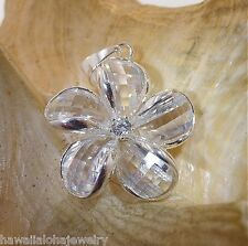 24mm Hawaiian Solid Sterling Silver Clear Faceted Crystal Plumeria CZ Pendant