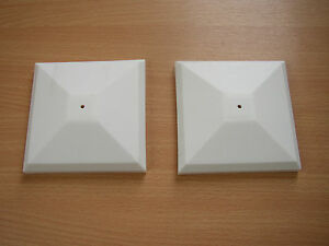 """2 X WHITE PLASTIC FENCE POST TOP 3""""/75MM"""