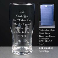 Personalised Tulip Pint Glass, Wedding Favour,Father of the Bride / Groom Gift