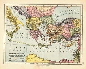1878 Viktorianisch Landkarte ~ St Pauls Journeys ~ Orte Mentioned IN Acts &