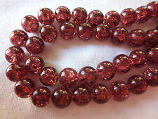 30 Berry Red 10mm Crackle Glass Beads #cr362 (Combine Post Before Paying)