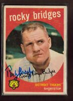 1959 TOPPS #318 ROCKY BRIDGES TIGERS SIGNED CARD AUTO 15A