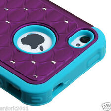 iPhone 4/4S Hybrid Spot Diamond Hard Case Skin Cover Purple Teal