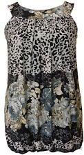 Womens Plus Size Floral Tunics Leopard Print Bubble Elasticated Hem Tops 14-28
