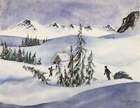 BRINGING HOME THE CHRISTMAS  TREE Diane Antone Original Watercolor Paintings