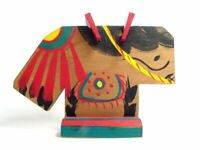 Japanese Folk Toy Mayumi-Uma Tachi-ema Standing Horse Shape Prayer Board Ema
