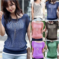 Women Summer Loose Hollow Out Short Batwing Sleeve Knit Tops Tee Shirt SweaterEB