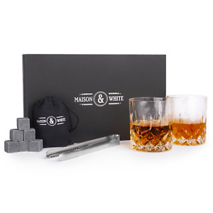 Whiskey Glass Gift Set Traditional Tumblers Whiskey Stones & Tongs M&W