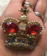 Rare Large Vintage Mazer Bros Jomaz Gold Plate Rhinestone Crown Brooch/Pendant
