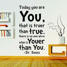 Today You are You Dr.Seuss Quote Wall Decals Sticker Vinyl Mural Room Decor New