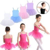 Kids Girls Ballet Dress Dance Tutu Gymnastics Tulle Straps Leotard Skirt Costume