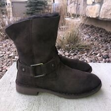 UGG Cedric Water Resistant Suede Shearling Lined Boots Women's Size 9 (1012360)