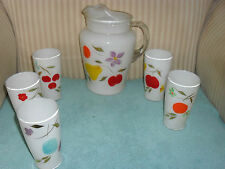 Antique Hand Painted Glass Fruit Pattern Pitcher & Glasses