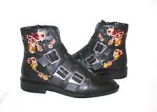 Zara Flat Embroidered Black Leather Buckle Women's Ankle Boots Sz EU 38 US 7.5