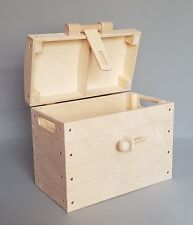 Wooden Pirate Chest with Locker Toy Boxes Storage Treasure Home Plain Wood Latch