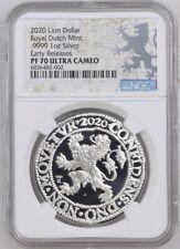 2020 Royal Dutch Mint re-huelga Lion dólar 1 OZ. 9999 Plata Ngc PF70 UC er