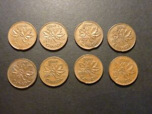 Lot of eight CAN 1c struck on clipped planchet errors, 1970 to 1978