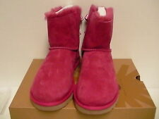 Women's ugg boots mini bailey bow scallop sheepskin pink size 7 us new with box