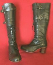 Military, 1920s style dark brown leather mid heel boots by J.Shoes. Size UK 6.