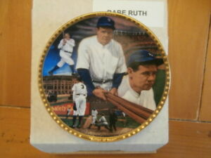 """Sports Impressions 1992 Babe Ruth """"Sultan of Swat"""" 4"""" Collectors Plate Gold Trim"""