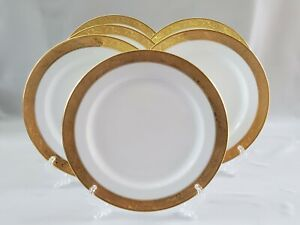 LIMOGES Vignaud VIG28 6 White Dinner Plates with Wide Gold Encrusted Band France