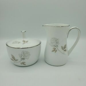 Noritake Sugar Bowl With Lid & Creamer 3 Pcs Set Rosay Pattern White Grey Rose