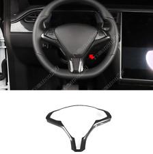 For Tesla Model S 2012-19 ABS Carbon Fiber Look Steering Wheel Frame Cover Trim