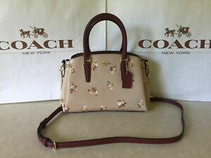 NWT Coach F31395 Patent Leather Sage Carryall Baby Bouquet Print Beechwood Multi
