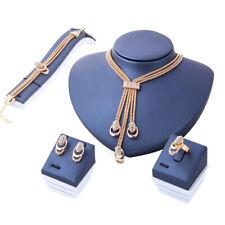 Mode Strass Halskette Armband Ohrringe Ring Hochzeit Schmuck Set Neu