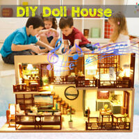 DIY Handcraft 3D Wooden Toy Miniature Dollhouse LED Lights House Gift w/ Cover